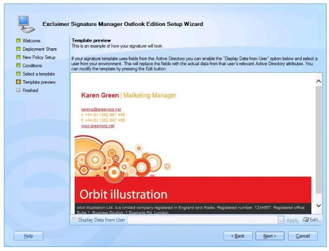 Running the Signature Manager Outlook Edition setup wizard