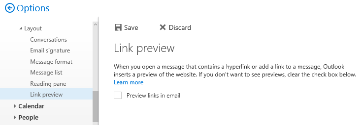How to disable link preview in Outlook Web Access and Outlook.com –  Exclaimer Knowledge Base