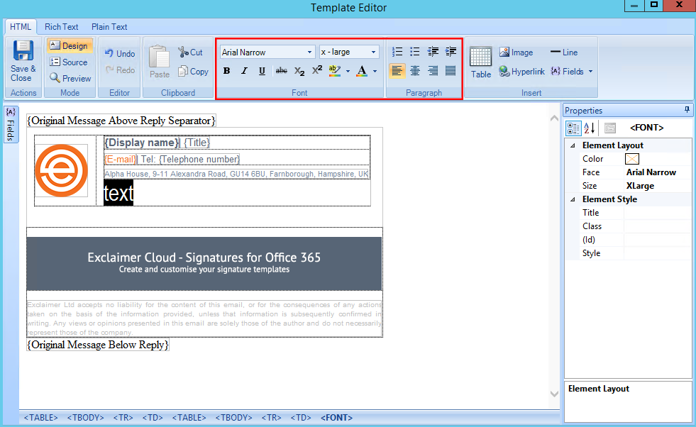 Font Styling in On Premise Solutions – Exclaimer Knowledge Base